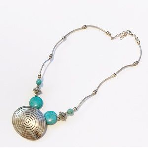 Jewelry - Swirl Pendant Faux Turquoise Silver Tone Necklace